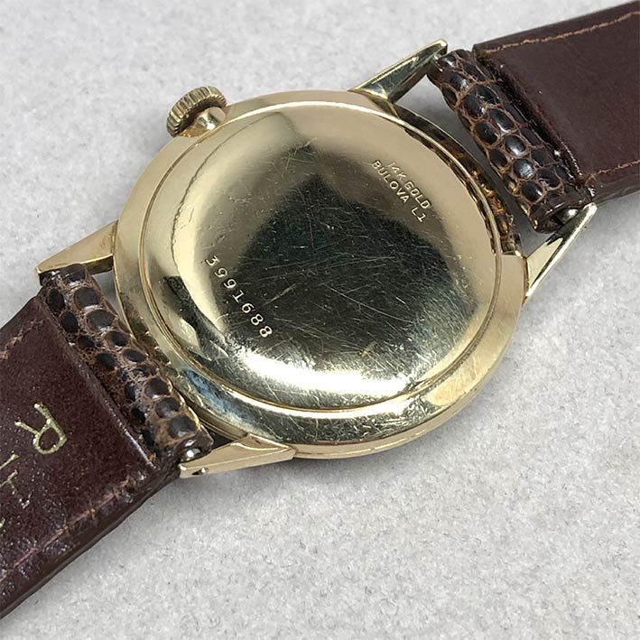 นาฬิกาวินเทจ BULOVA 1950 ระบบไขลาน ขนาดตัวเรือน 32.5mm หน้าปัดบรอนซ์เงินประดับหลักเวลาขีดอารบิคทอง เ 4