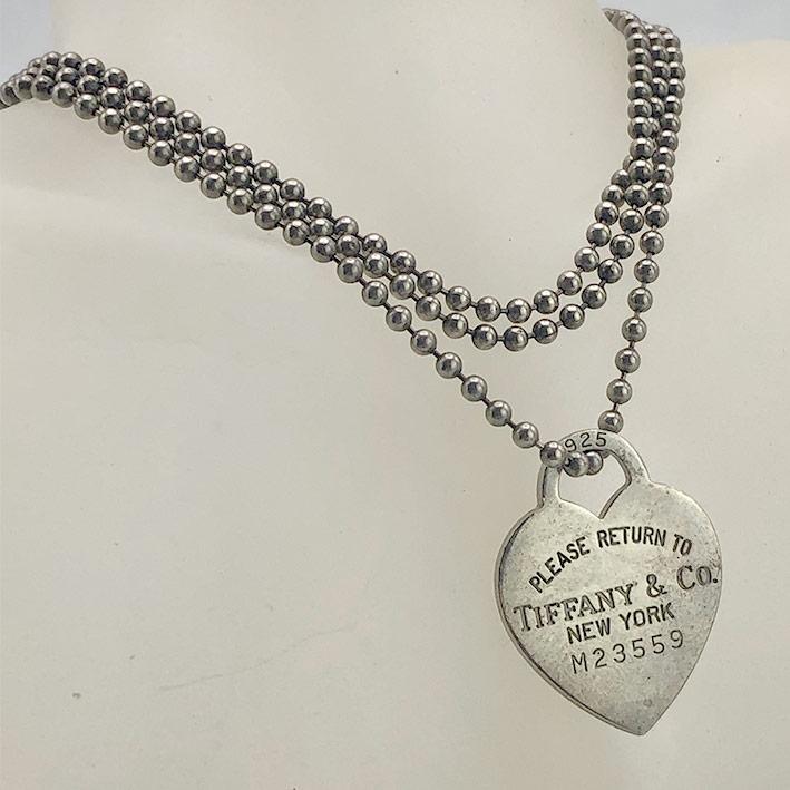 สร้อยคอ TIFFANY  Co ดีไซน์สัญลักษณ์รูปทรงหัวใจขนาดกว้าง 2.3 cm ความยาวสร้อย 84cm (สามารถซ้อนสร้อยเป