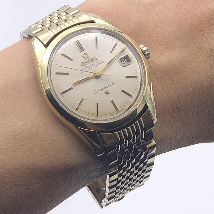 OMEGA Costellation date chronometer  ปี 1968 serial 27611633 ขนาด 36mm หน้าปัดบรอนซ์เงินเดิมประดับหล