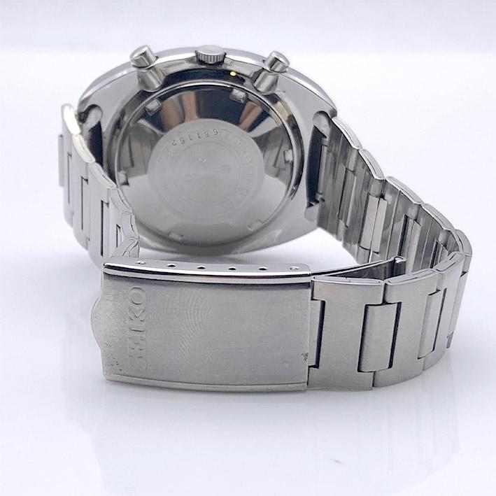 Seiko Chronograph Automatic 6139-6002 1970s Size 41x46mm หน้าปัดน้ำเงินเข้มประดับหลักเวลาขีดพรายน้ำ 6