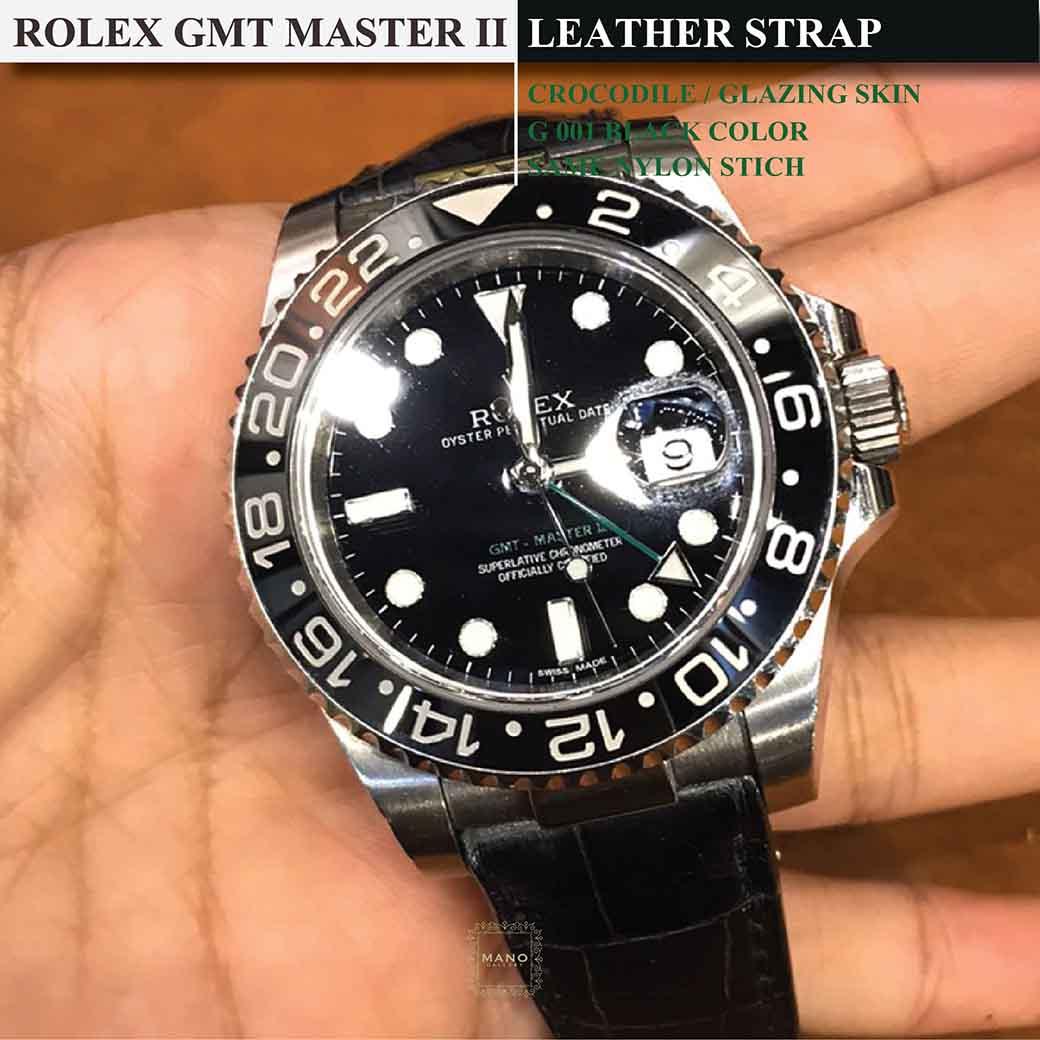 สายหนังจระเข้แท้ขนาด 20 มิล สำหรับ ROLEX GMT MASTER II GREEN HAND (Custom Order) 9