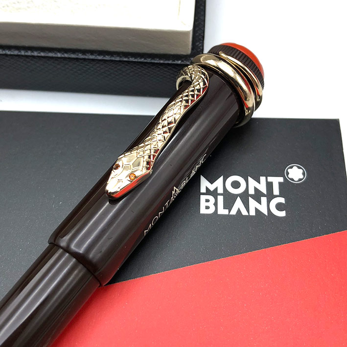 Ballpoint pen Montblanc Heritage rouge noir snake in lacquer chrome trim good condition Pre-owned 2