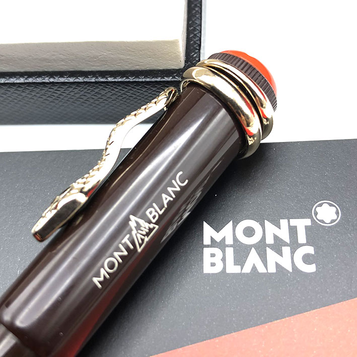 Ballpoint pen Montblanc Heritage rouge noir snake in lacquer chrome trim good condition Pre-owned 3