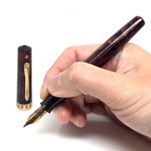 ปากกาหมึกซึม WAHL EVERSHARP doric USA 1940 ตัวด้ามเรซิ่นลายหิน ชุดประดับชิ้นปลอกบน และเหน็บเคลือบทอง 4