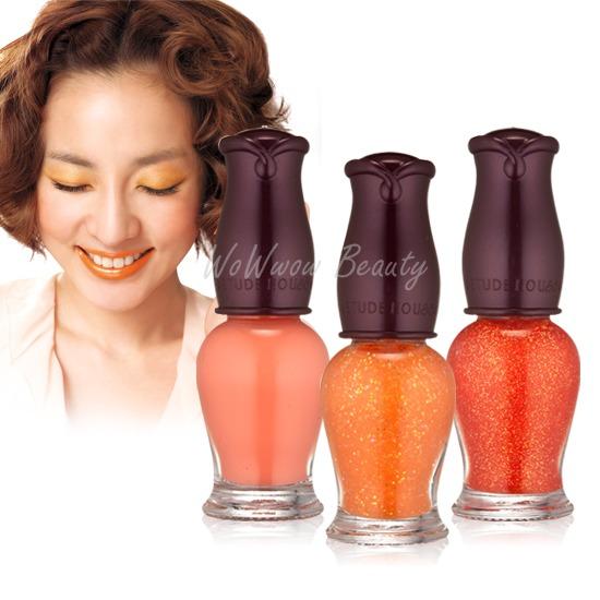 (เลิกผลิต) Etude House Miss Tangerine Petit darling nail kits ชุดยาทาเล็บโทนสีส้ม สดใส บรรจุ 3 ขวด