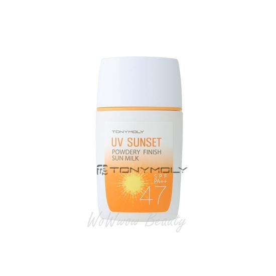 (Pre Order) Tony Moly UV Sunset Powdery Finish Sun Milk spf47 pa++ กันแดดสูตรน้ำนม เบาสบาย ไม่เหนียว