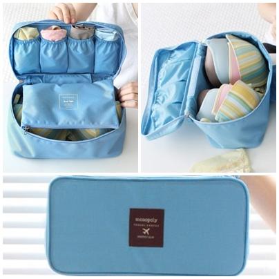 (พร้อมส่ง) กระเป๋าจัดระเบียบ Bag In Bag สีฟ้า สำหรับใส่ชุดชั้นในโดยเฉพาะ ไม่ทำให้เสียทรง หยิบสะดวก