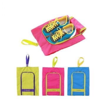 (Sale พร้อมส่ง) กระเป๋าจัดระเบียบ Bag In Bag สีชมพู สำหรับใส่รองเท้า แยกได้เป็นสัดส่วน หยิบใช้สะดวก 1
