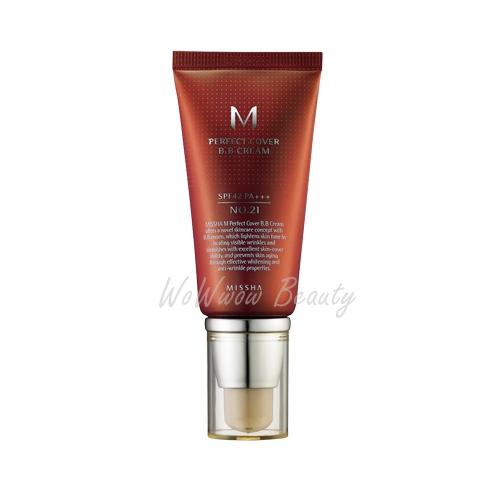 (พร้อมส่ง)Missha Perfect Cover BB cream spf42 50 ml (Line Friend) บีบีหลอดแดงสุดฮิต ปกปิด เนียน