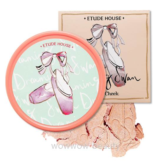 (พร้อมส่ง)Etude House Dreaming Swan Eye and Cheek (No.2) อายแชโดวส์และบลัชออนในตลับเดียว โทนส้ม