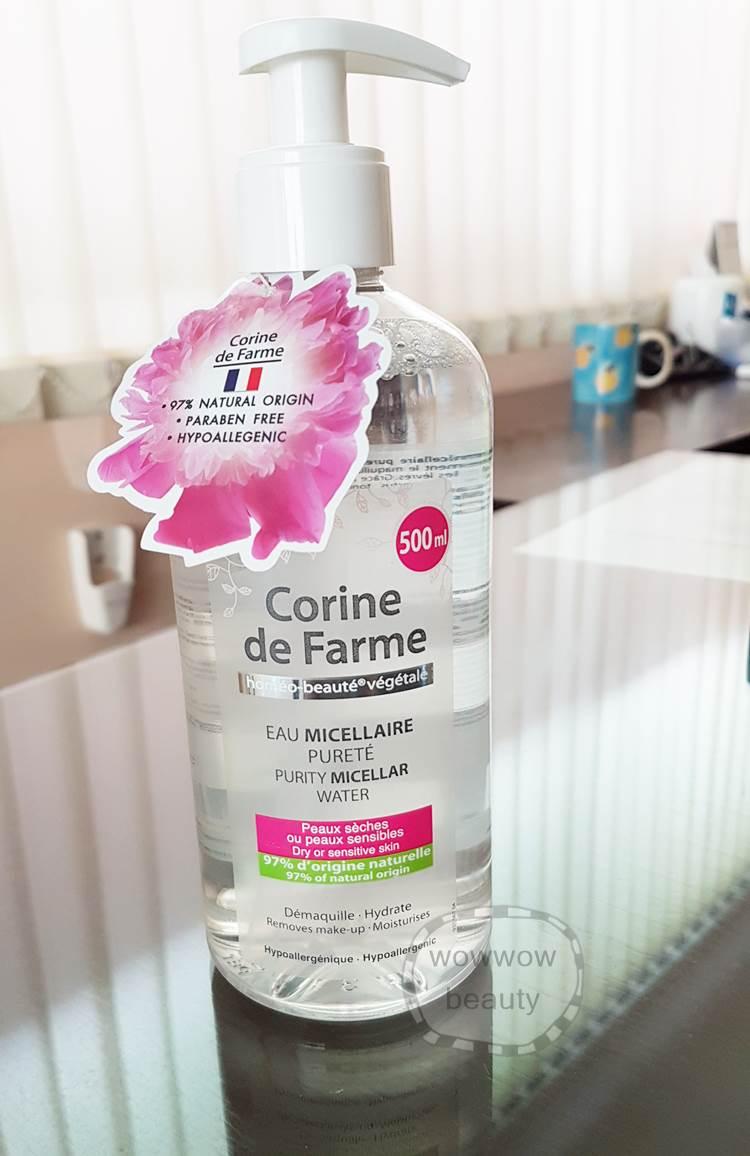 (หมดค่ะ) Corine de Farme Purity Micellar Water 500 ml.คลีนซิ่งชนิดน้ำ เช็ดเครื่องสำอางได้หมดจด
