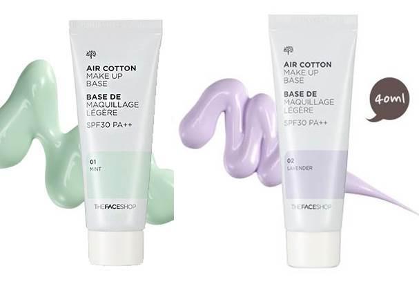 (พร้อมส่ง เขียว) The Face Shop Air Cotton Make Up Base SPF30 PA++  เบสช่วยปรับสีผิว รอยรอยแดงจากสิว