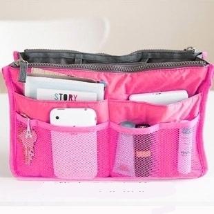 (พร้อมส่ง) กระเป๋าจัดระเบียบ Bag In Bag สีชมพูเข้ม ขนาดใหญ่ ใส่ของจุกจิกได้เยอะ หยิบของได้สะดวกขึ้น