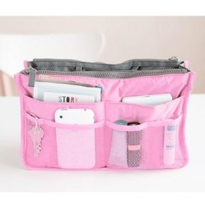 (พร้อมส่ง) กระเป๋าจัดระเบียบ Bag In Bag สีชมพูอ่อน ขนาดใหญ่ ใส่ของจุกจิกได้เยอะ หยิบของได้สะดวกขึ้น
