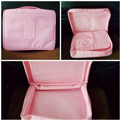 (พร้อมส่ง) กระเป๋าจัดระเบียบ Bag In Bag สีชมพูอ่อน สำหรับใส่ของจุกจิก เครื่องสำอางเหมาะสำหรับเดินทาง