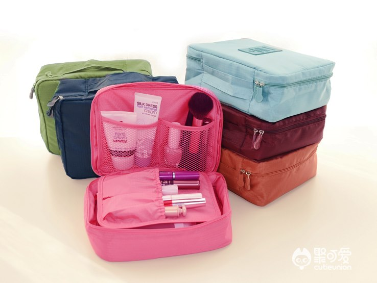 (พร้อมส่ง) กระเป๋าจัดระเบียบ Bag In Bag สีชมพูอ่อน สำหรับใส่ของจุกจิก เครื่องสำอางเหมาะสำหรับเดินทาง 1