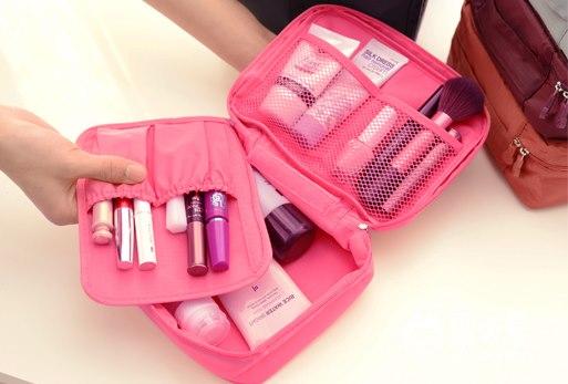 (พร้อมส่ง) กระเป๋าจัดระเบียบ Bag In Bag สีชมพูอ่อน สำหรับใส่ของจุกจิก เครื่องสำอางเหมาะสำหรับเดินทาง 2