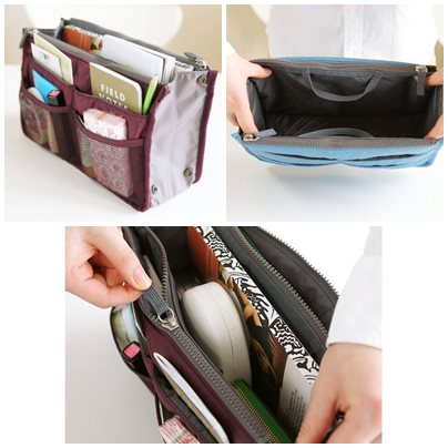 (พร้อมส่ง) กระเป๋าจัดระเบียบ Bag In Bag สีแดงไวน์ ขนาดใหญ่ ใส่ของจุกจิกได้เยอะ หยิบของได้สะดวกขึ้น