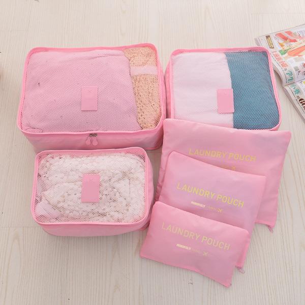 (พร้อมส่ง) กระเป๋าจัดระเบียบ Bag In Bag เซ็ท 6 ใบ สีชมพูอ่อน สำหรับใส่ของแยกเป็นสัดส่วนเวลาเดินทาง