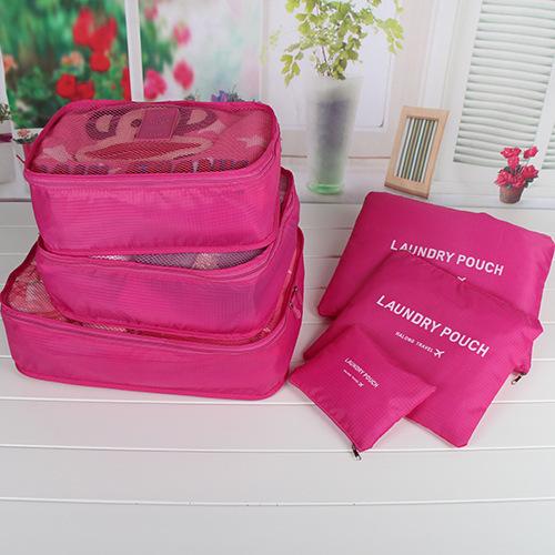 (พร้อมส่ง) กระเป๋าจัดระเบียบ Bag In Bag เซ็ท 6 ใบ สีชมพูเข้ม สำหรับใส่ของแยกเป็นสัดส่วนเวลาเดินทาง
