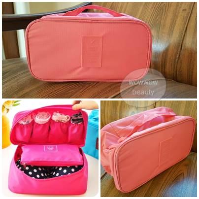 (พร้อมส่ง) กระเป๋าจัดระเบียบ Bag In Bag สีส้มโอรส สำหรับใส่ชุดชั้นในโดยเฉพาะ ไม่ทำให้เสียทรง