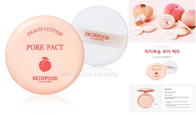 (Pre order) Skinfood Peach Cotton Pore Pact แป้งพัฟไม่ผสมรองพื้น ช่วยปกปิดรูขุมขน พร้อมควบคุมความมัน