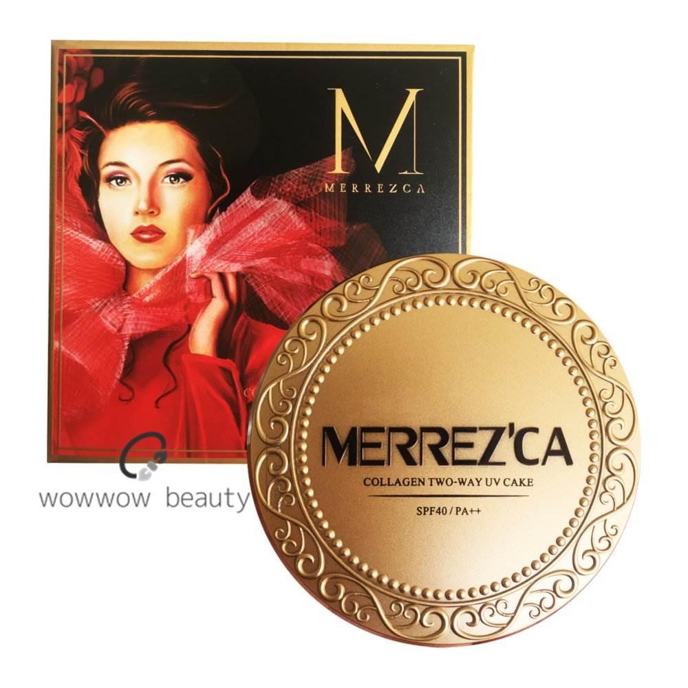 (พร้อมส่ง no.21) Merrezca Collagen UV Two Way Cake แป้งผสมรองพื้นเมอเรสก้า สูตรคอลลาเจน หน้าเนียนใส