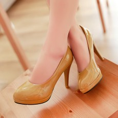 รองเท้าแฟชั่นส้นสูงสีน้ำตาล สูง 3.5 นิ้ว ขายส่งยกโหล