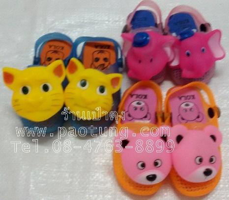 รองเท้าแฟชั่นเด็กแบบสวม รัดส้นแต่งด้วยหัวตุ๊กตาสัตว์ แมว ช้าง หมี
