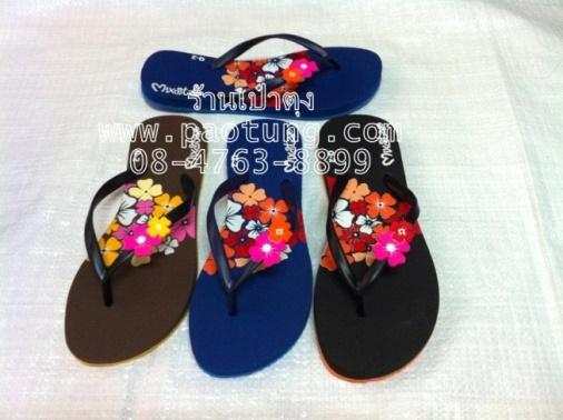 รองเท้าแตะฟองน้ำแบบหูหนีบสกรีนดอกไม้ขายส่ง