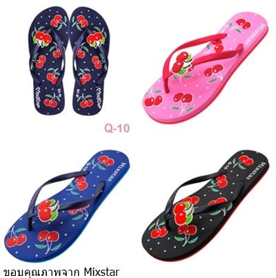 รองเท้าแตะฟองน้ำแบบหูหนีบลายดอกกุหลาบ  Mixstarขายส่ง