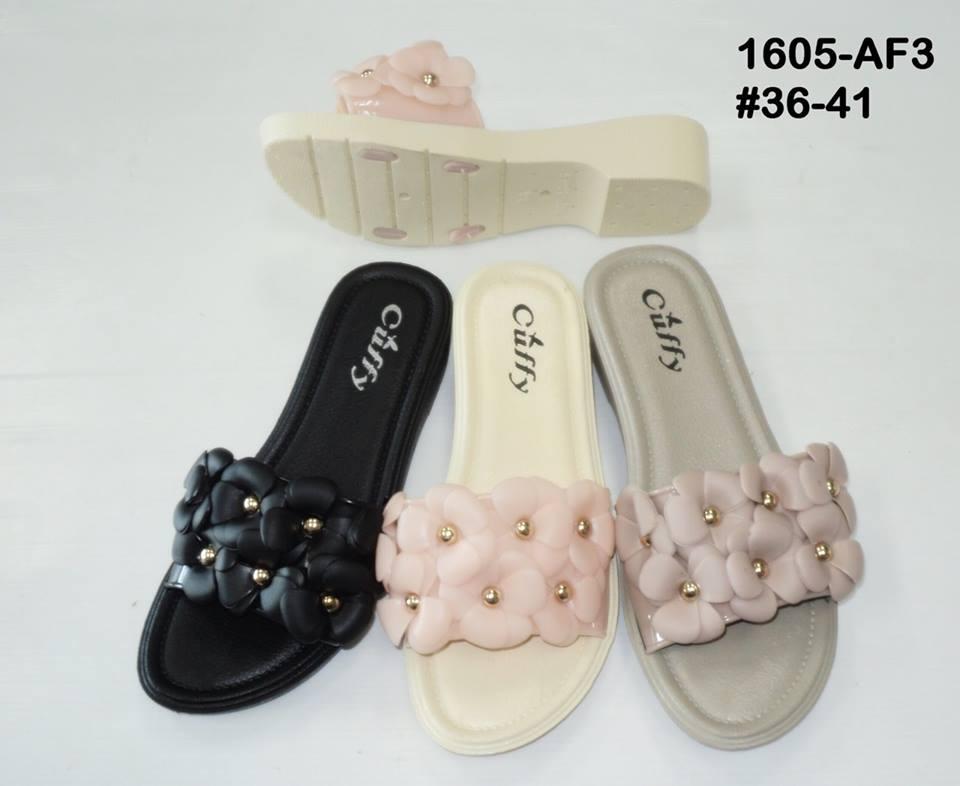 รองเท้าแตะแบบสวมประดับดอกไม้ ขายส่ง