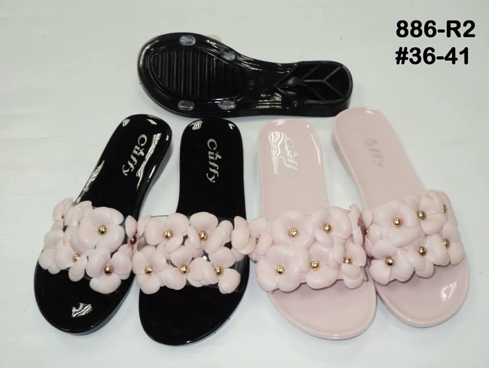 รองเท้าแตะพลาสติกแบบสวมประดับดอกไม้ ขายส่ง