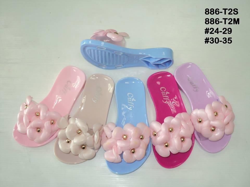 รองเท้าแตะพลาสติกแบบสวมแต่งดอกไม้ของเด็กหญิงขายส่ง