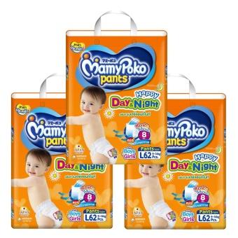 ผ้าอ้อม Mamy Poko กางเกงผ้าอ้อมเด็ก L 62 ชิ้น  x 3แพ็ค ( จำนวน186 ชิ้น )