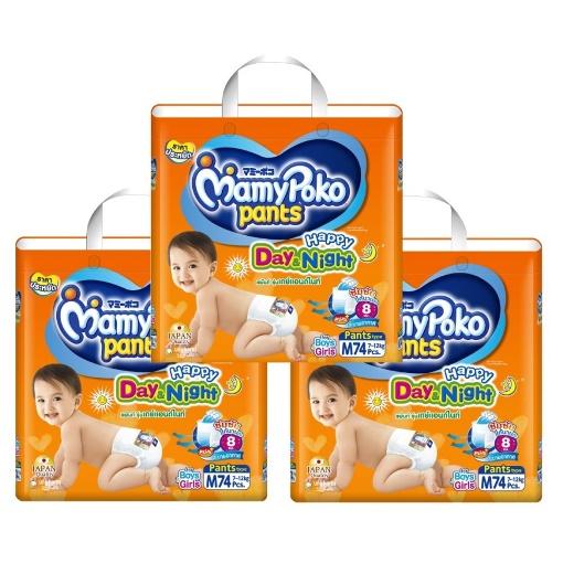 ผ้าอ้อม Mamy Poko กางเกงผ้าอ้อมเด็ก M 74 ชิ้น  x 3แพ็ค ( จำนวน 222 ชิ้น )