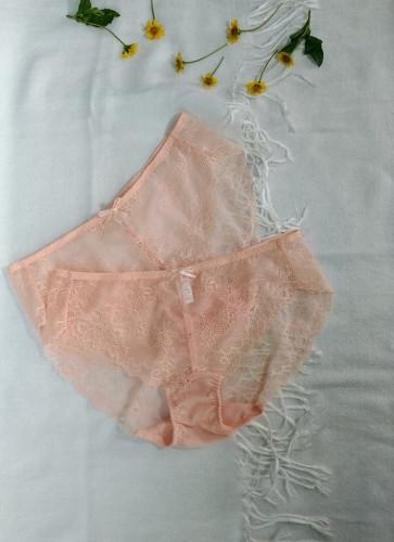 YB04 กางเกงในลูกไม้ สีส้ม 2 ตัว ไซส์ EL