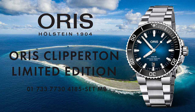 Oris Watch Aquis Clipperton Limited Edition  733 7730 4185-Set MB โอริสได้เปิดตัวนาฬิการุ่น Oris Clipperton Limited Edition นาฬิกาสําหรับนักประดาน้ำ บนฐานของรุ่น Aquis รายได้ส่วนหนึ่งจากการจัดจําหน่