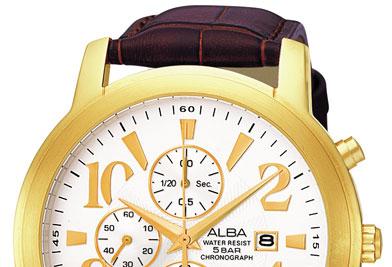 ALBA จับเวลารุ่นใหม่รูปแบบคลาสิค ฃนาดใหญ่ มีเรือนทองและสแตนเลสหน้าดำ