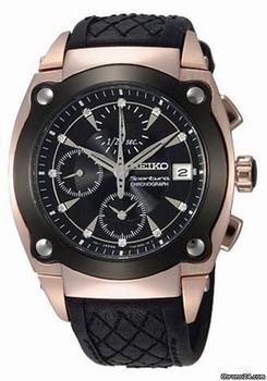 SEIKO  Sportura Diamond Chronograph Leather Mens Watch รุ่น SNDZ80P1