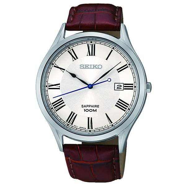 Seiko Classic Sapphire Crystal Silver Tone Dial Brown Leather Mens Watch SGEG97