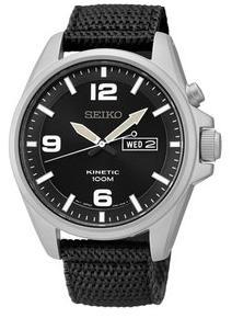 Seiko Kinetic SMY143P1 Black Dial Black Canvas Men\'s Watch