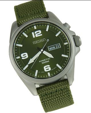 Seiko SMY141P1 Green Dial Green Canvas Mens Watch