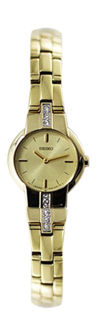 Seiko Womens Gold Tone Swarovski Dress Watch - SUJG40P1