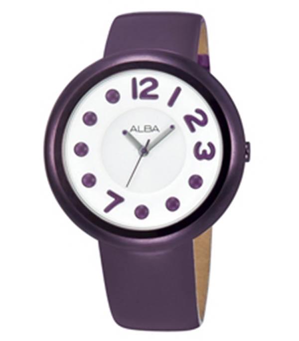 Alba Mega Dot Modern ladies สายหนัง รุ่น AH8095X - สีม่วง