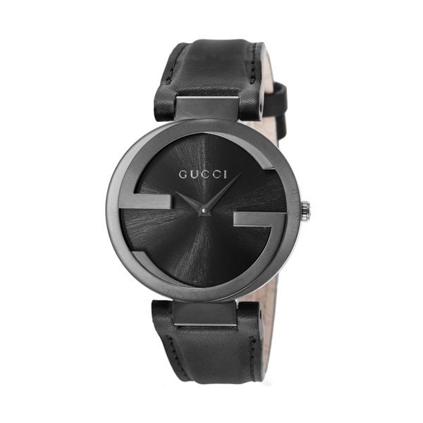 Gucci Interlocking G Black Dial Black Leather Strap Unisex Watch YA133302