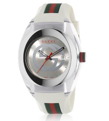 Gucci Sync Unisex Swiss White Rubber  Watch 46mm YA137102