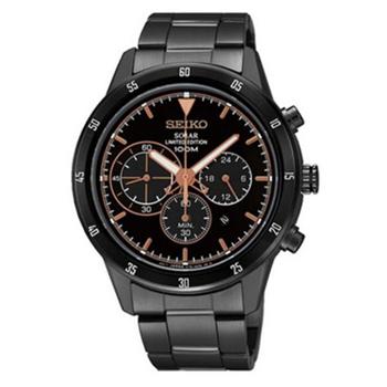 SEIKO Solar Chronograph Limited Edition Men\'s Watch นาฬิกาข้อมือผู้ชาย สีดำ สายสแตนเลส รุ่น SSC339P