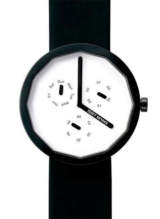 Issey Miyake นาฬิกาข้อมือผู้หญิง สายหนัง Twelve 365 รุ่น SILAP008 - สีดำ/ขาว